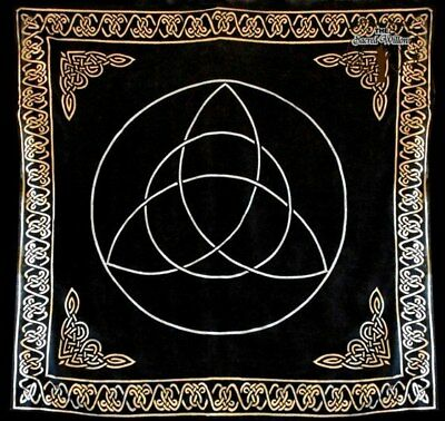 90cm Gold Bordered Triquetra Altar or Tarot Cloth Rayon Wall Hanging Table