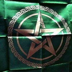 100cm Green & Gold Pentagram Altar or Tarot Cloth