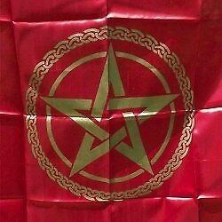 100cm Red & Gold Pentagram Altar or Tarot Cloth