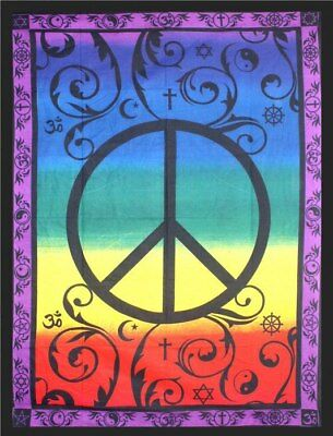 Global Peace Tapestry 208cm x 132cm ~ 100% Cotton Tapestry Altar Cloth Bed Sp...