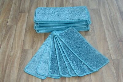 13 Carpet Stair case Treads la vega blue  Stain-Free Large Carpet Stair Pads