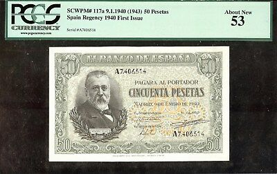 1940 (1943) Spain 50 Pesetas Spain Regency First Issue PCGS 53 About New