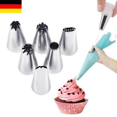 Silikon Dressiersack Spritzbeutel Icing Piping bag + 6er Nozzle Set mit Adapter