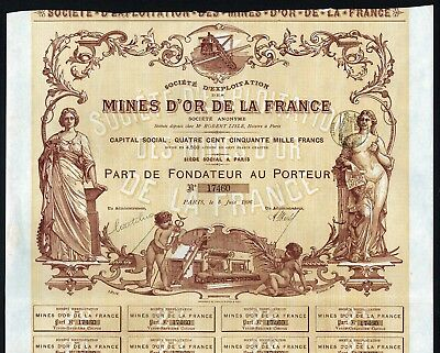 1896 Paris, Frankreich: Societe d'Exploitation des Mines d'Or de la France S.A.