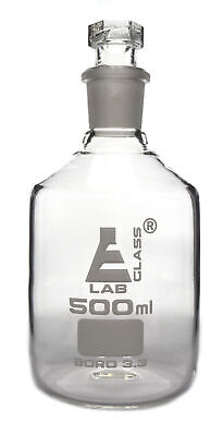Reagent Bottle, Borosilicate, Narrow Mouth Hexagonal Stopper 500ml - Eisco Labs