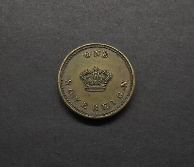 ROYAL MINT? 19th CENTURY BRASS COIN WEIGHT FOR ONE SOVEREIGN
