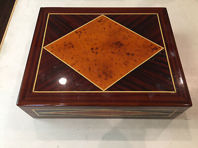 Burled Wood Diamond Inlay Cigar Humidor Desktop Felt
