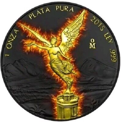2015 1 Oz Silver MEXICAN BURNING LIBERTAD,Ruthenium Coin WITH 24K Gold Gilded..
