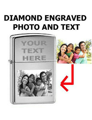 Zippo Custom Lighter Customize Engraved Photo High Polished Chrome 250 Pocket