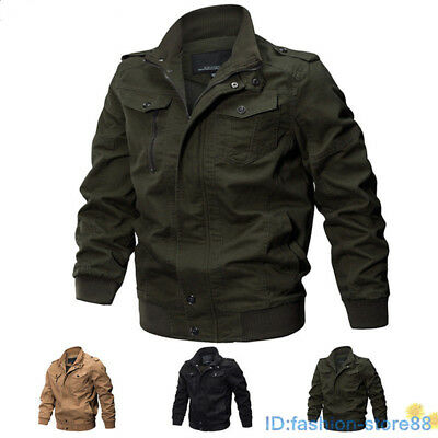 Mens MA-1 Flight Jacket Stylish Army Jacket Pilot Winter Coat Cool Bomber Jacket