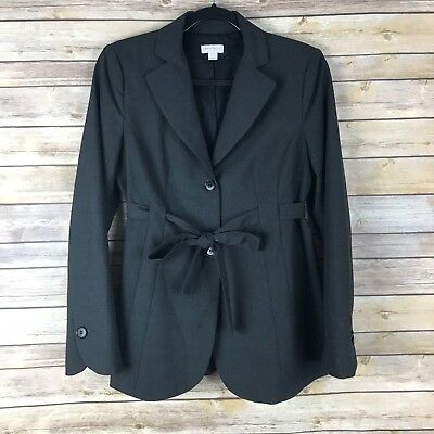 A Pea In The Pod Womens Maternity Blazer Two Button Tunic Tie Belt Dark Gray S
