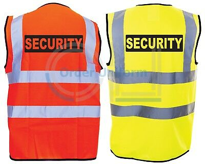 SECURITY SIA Hi-Vis High-Viz Visibility Safety Vest Waistcoat S-4XL Bar Club