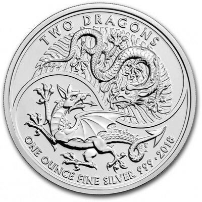 2018 uk Two Dragons  1 oz .999 Silver Bullion Coin in capsule (New Release)