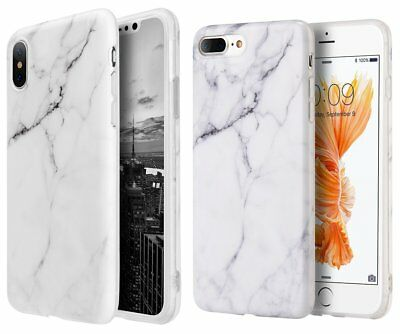 iPhone 6S / 7 / 8 Plus X - Hard TPU Rubber Case Cover White Marble Stone Pattern