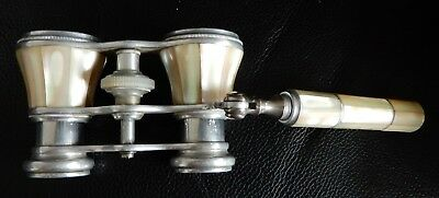 Vintage /Antique Mother of Pearl Opera Glasses with folding handle