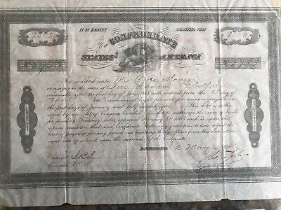 1863 Civil War Confederate States  $500 Bond Signed Robert Tyler
