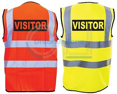 Printed Visitor Hi-VIS High Visability Safety Vest Waistcoat Yellow Safety Vests Work Safety Equipment & Gear