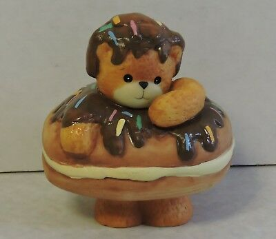 "'94 Enesco LUCY & ME DONUT / ECLAIR Bear 3"" Porcelain Figurine Chocolate Frosted"