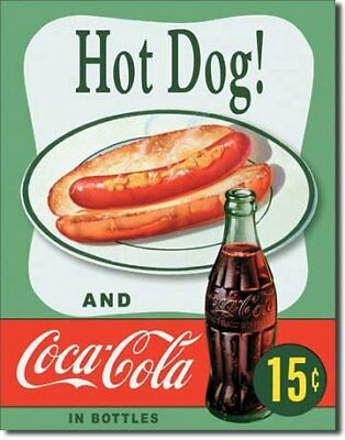 Hot Dog and Coca Cola Coke Combo 15 Cents Retro Vintage Tin Sign - 13x16