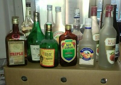 large job lot of empty foreign and vintage alcohol bottles
