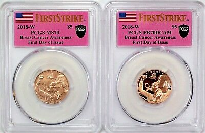 2018 W Breast Cancer Awareness $5 Gold Set PCGS PR70/MS70 First Day of Issue