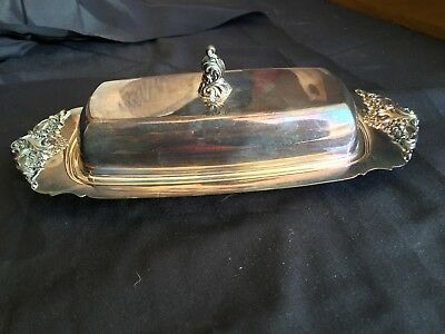 Wallace Silverplate Baroque Covered Butter Dish  With Glass Liner