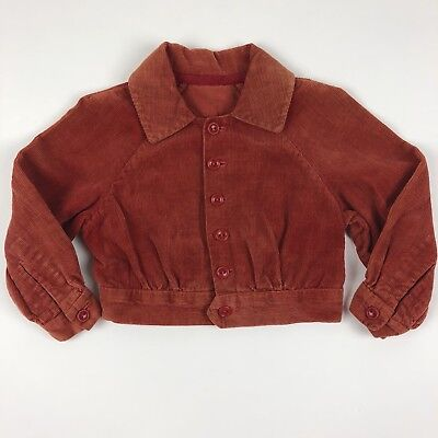 Vintage Cropped Button Up Collared Jackets Orange Rust Corduroy Toddler 2T