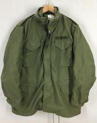 Vintage 1970 US Army Alpha Industries Olive Green M-65 Field Jacket Large Long