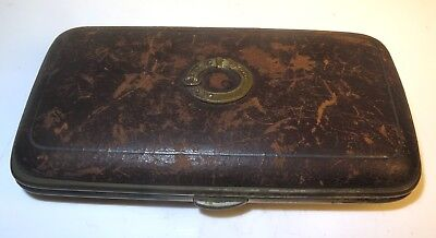Vintage Leather Sterling Silver Filigree Beautiful French Engraved Cigar Case