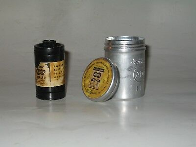 Vintage Adox Film Cannister and Roll of KB-14 Exposed Film, Pre-1973