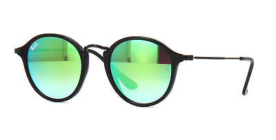1c047545b3 Ray Ban Unisex Rounded Sunglasses RB2447 901 4J Black Frame Green Mirrored  Lens