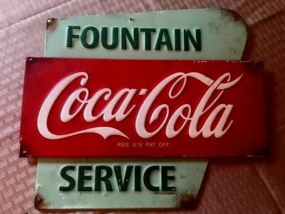 "Reproduction Coca Cola Fountain Services Sign 13"" X 11"""