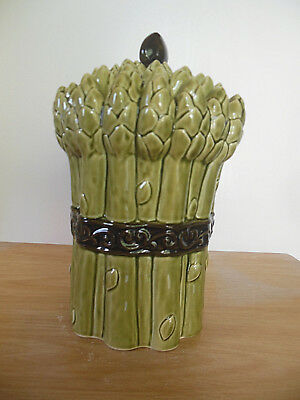 Asparagus Cookie Jar Shaped Container Tied In A Bundle Green Ceramic