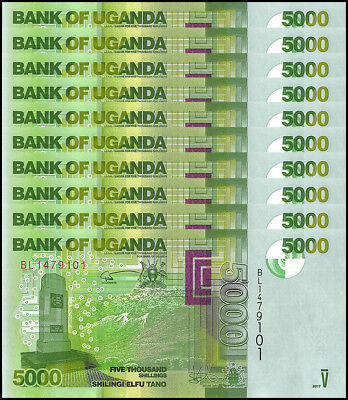 Uganda 5,000 (5000) Shillings X 10 Pieces (PCS),2017,P-NEW,UNC,Bird,Ocean,Waves
