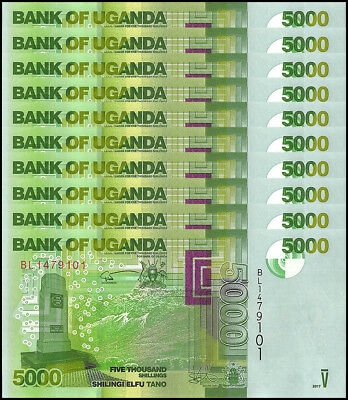 Uganda 5,000 - 5000 Shillings X 10 Pieces - PCS, 2017, P-51,UNC,Bird,Ocean,Waves