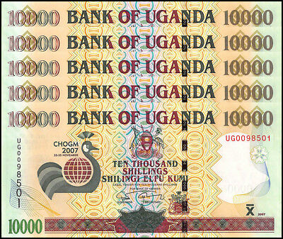 Uganda 10,000 (10000) Shillings X 5 Pieces (PCS), 2007, P-48, UNC, Own Falls DAM