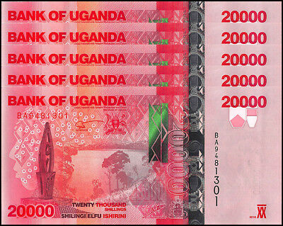 Uganda 20,000 (20000) Shillings X 5 Pieces (PCS), 2015, P-NEW, UNC, Buffalo,Park