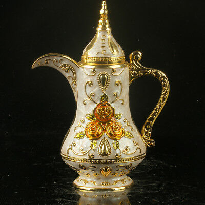 Chinese Exquisite Cloisonne Carvings Of Roses Teapot Toothpick Box R0070