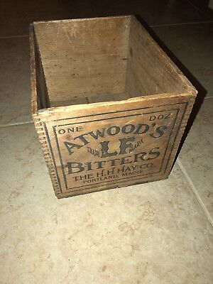 RARE Antique WOOD/Wooden BOX-ATWOOD'S BITTERS L.F.Medicine Co.Portland, MAINE-ME