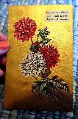 Vintage Friendship POSTCARD Card Oh, Be My Friend, Emerson, Flowers & Gold, 1910