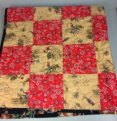 Handmade western baby quilt cowboys indians horses lap blanket baby boy gift