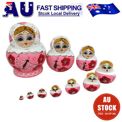 10Pcs/set Wooden Dolls Russian Nesting Cute Girl Matryoshka Hand Painted Toys AU