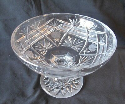 Antique Hand Cut Lead Crystal Compote