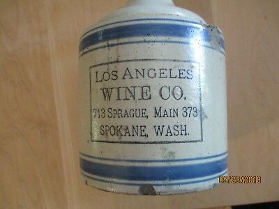 Antique Spokane, Washington Whiskey or Wine Crock Jug Stoneware Los Angeles