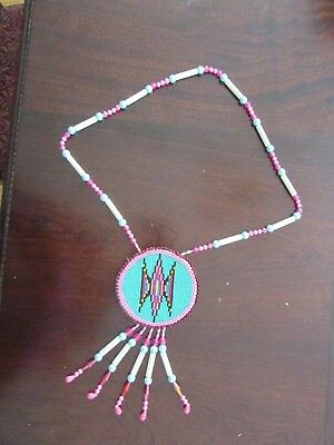 """Vibrant Vintage Plains Beaded Necklace  19"""" with a big 3"""" medallion"""