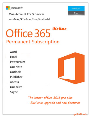 Microsoft Office 365 LIFETIME Account 5 Licences for WIN/MAC& Mobile Devices