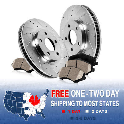 FRONT KIT DRILLED AND SLOTTED BRAKE ROTORS & CERAMIC PADS 2009 - 2015 Venza