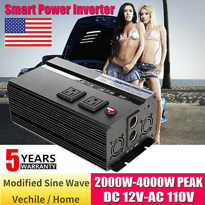 2000W 4000Watt Max Car Power Inverter DC 12V AC 110V Vehicle Converter Invertors