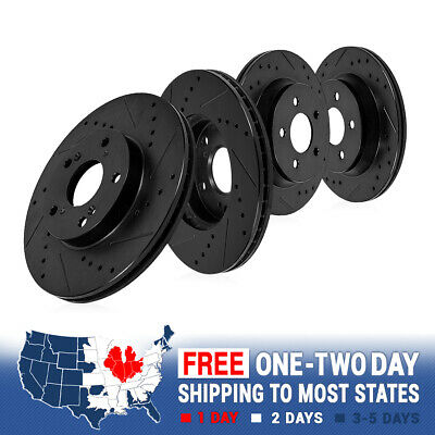 FRONT + REAR BLACK PERFORMANCE DRILLED AND SLOTTED BRAKE DISC ROTORS Chevy GMC