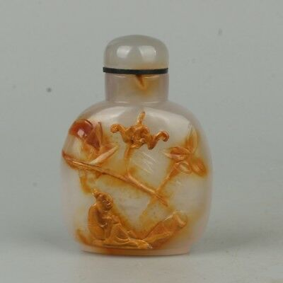 Chinese Exquisite Handmade people agate snuff bottle